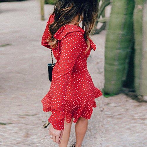 Robe Volants Robe Longues Femmes V Mini Manches Col Robe Robe Rouge Profond Feixiang Pois 514AqZ