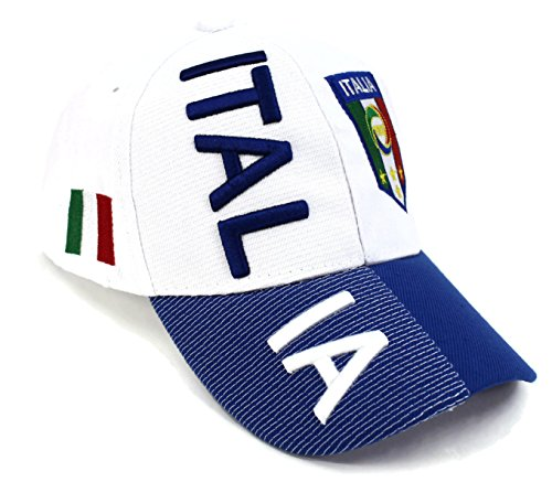 Logo Embroidered Baseball Cap - High End Hats World Soccer / Football Team Hat Collection Embroidered Adjustable Baseball Cap, Italia with FIGC Logo, White