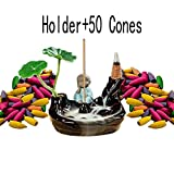 Big Ceramic Incense Cones Burner Backflow Incense Burner Holder wirh 50 Backflow Incense Cones for Home Office Décor(small monk)