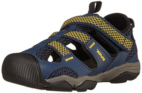 Teva Jansen Leather Kids Sport Shoe (Toddler/Little Kid/Big Kid), Navy/Yellow, 12 M US Little Kid