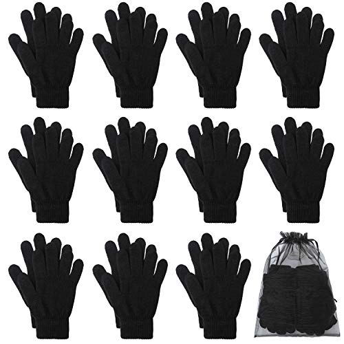 Cooraby 12 Pairs Winter Magic Gloves Stretchy Warm Knit Gloves with Mesh Storage Bag for Men or Women (Black, Length 8.3 inches)