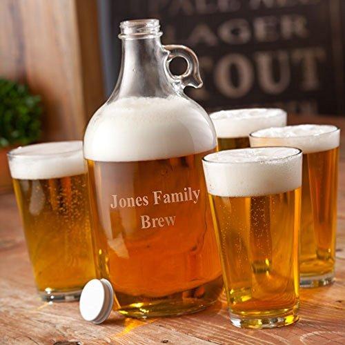 Engraved Beer Growler Set w/4 Blank Pint Glasses