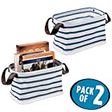 mDesign Fabric Storage Organizer Basket Bin, 2 Built-in Handles - Woven Canvas with Water-Resistant Coated Interior, Folds Flat for Compact Storage � Pack of 2, Small Rectangle, Blue/White Stripe