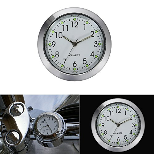 ECLEAR 7/8 1'' Universal Motorcycle Handlebar Chrome Dial Clock Watch Temp Thermometer for Harley Davidsons Yamaha Suzuki Honda Kawasaki Cruisers - (Chrome Handlebar Clock)