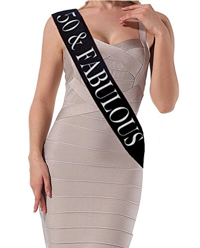 "50th Birthday Sash - ""50 and Fabulous"" Black Glitter Satin Sash For Women – Happy 50th Birthday Gifts For Women & Party Supplies ()"