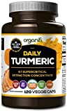 Daily Turmeric Boost – Turmeric Super Food Supplement (2000mg) 30 Day Supply. USDA Raw Organic Vegan Turmeric Veggie Capsules (120 Count) by Organifi