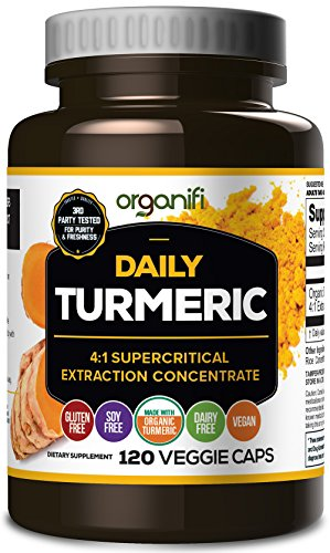 Daily Turmeric Boost - Turmeric Super Food Supplement (2000mg) 30 Day Supply. USDA Raw Organic Vegan Turmeric Veggie Capsules (120 Count) by Organifi