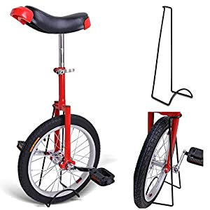 "16"" Inches Wheel Skid Proof Tread Pattern Unicycle W/ Stand Uni Cycle Bike Cycling Red"