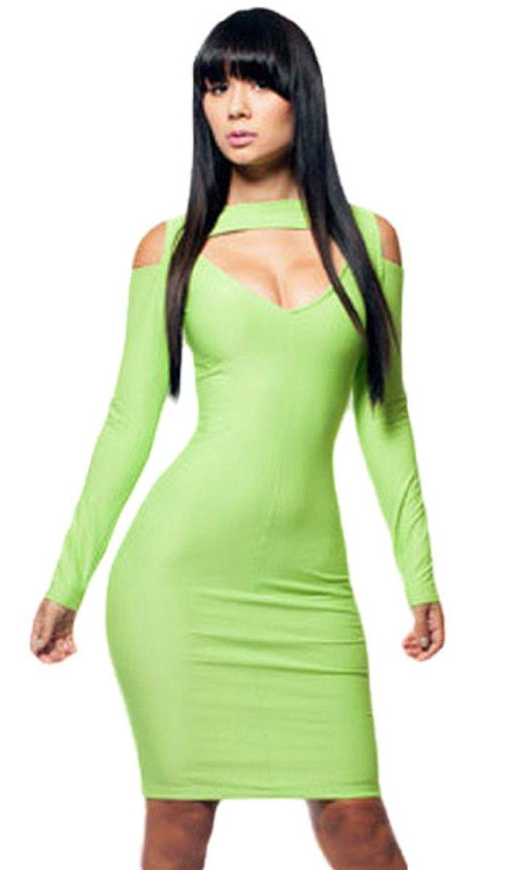 Bright Green Cut out Bodycon Dress Club Wear party stile anni taglia M 10–12
