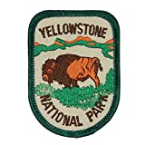 """Souvenir Patch """"Yellowstone National Park"""" Wyoming Bison Badge Iron-On Applique"""
