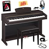 Yamaha Arius YDP-181 Digital Piano Bundle with Bench, Essential Cables Pack, Headphones, Instructional Book, and Polishing Cloth - Dark Rosewood