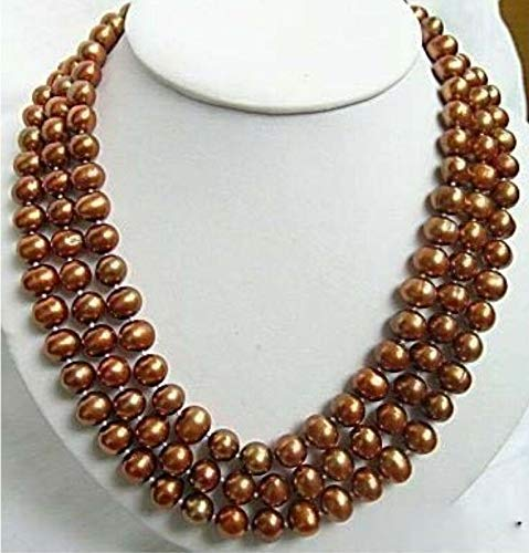 (FidgetGear Chocolate Brown Shell Pearl Clasp Necklace New Good 3 Rows)