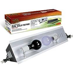 R-Zilla SRZ100011634 Incandescent Dual Bulb Reptile Fixture, 20-3/4-Inch, Black