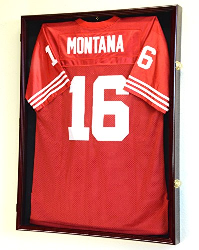 XL Jersey Uniform Frame Display Case Cabinet Shadow Box w/ UV Protection -Cherry