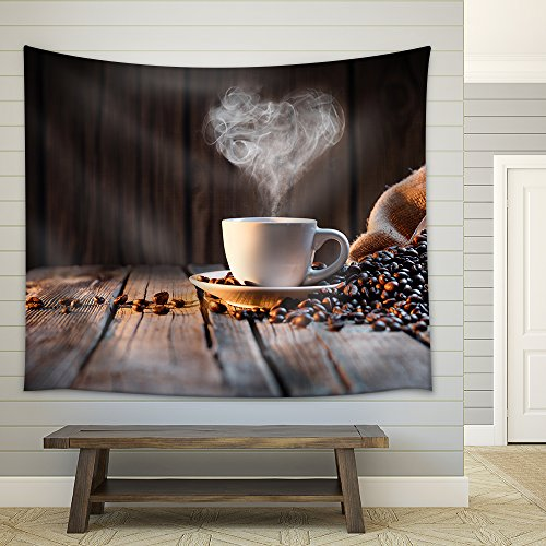 Traditional Coffee Cup with Heart Shaped Steam on Rustic Wood Fabric Wall Tapestry