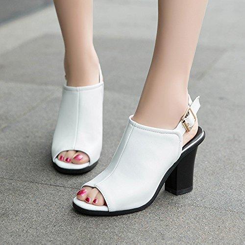 Ete VulusValas Femmes Toe White Peep Sandales B0Aw50q