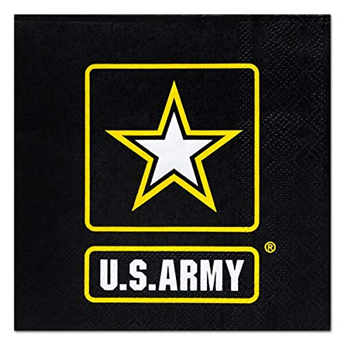 US Army 5'' Beverage Napkins - 48 count - Army, Military, American Hero Paper Party Napkins for Birthday, Camping, Homecoming by Birthday Direct