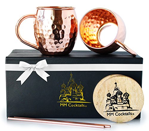 Moscow Mule Mugs - Handcrafted 100% Pure Solid Copper Hammered Finish 16 Oz Classic Mug - Premium Quality Gift Box Set of Two Cups with Bonus Coasters & Copper Straws - MM Cocktails
