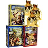 Carcassonne Expansions 1 & 2 & 3 Bundle Set _ No. 1 Inns & Cathedrals; No. 2 Traders & Builders; No. 3 Princess and the Dragon _ Bonus 3 Gold Metallic Cloth Drawstring Storages Pouches _ Bundled Items