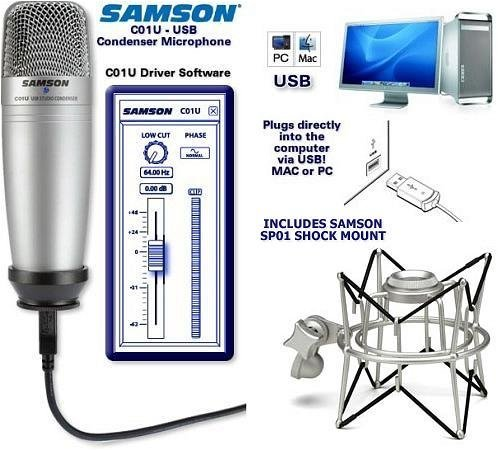Samson C01U USB Studio Condenser Microphone with SP01 Shock Mount Kit (Samson C01 Studio)