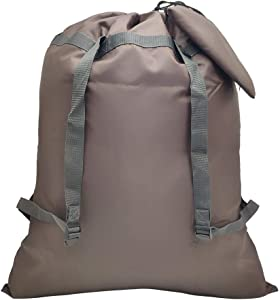 """CALACH Extra Large Laundry Bag Backpack 27"""" x 34"""" Sturdy and Tear Resistant Polyester Backpack with Drawstring Closure and Shoulder Straps Machine Washable College Dorm Travel Fold Laundry (Chocolate)"""