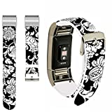 For Fitbit Charge 2 Bands,Ecute Replacement Band For Fitbit Charge 2 Leather Bands Strap With Metal Connectors- Nice Natural Flowers
