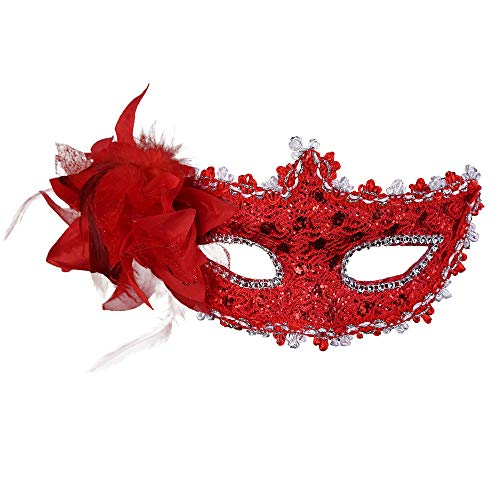 Shiny Masquerade Mask Women Girls Venetian Lace Mask for Party/Masquerade/Ball Prom/Mardi/Cosplay/Costumes- Exquisite&Elegant Red -