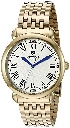 CROTON Men's CN307532YLDW HERITAGE Analog Display Quartz Gold - Dial Croton Mens White
