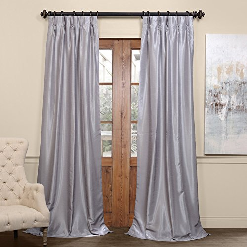 PDCH-KBS9BO-96-FP Pleated Blackout Vintage Textured Faux Dupioni Silk Curtain, 25 x 96