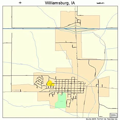 Amazon com: Large Street & Road Map of Williamsburg, Iowa IA