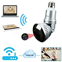 960P Wireless WiFi Light Bulb Camera Day/Night IP Network Surveillance Camera Plug & Play, Two-way Audio, Built-in Speaker for Smart Phone ,Tablets,PC with 32G TF Card