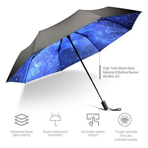 Bes High grade portable sun umbrella, black glue anti UV coating, aluminum alloy umbrella holder, gift boutique, outdoor sunshade, sun block, rain, black umbrella with blue sky bottom.give present