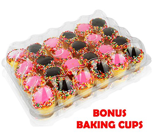 5 - 24 Compartment Clear High Dome Cupcake Containers Boxes with baking cup liners - Great for high topping - 5 boxes 24 slot each - Plus White standard size baking cups Dome Box