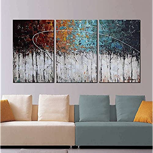 ARTLAND Hand Painted Color Forest 3 Piece Gallery Wrapped Abstract Oil Painting On Canvas Wall Art Decor Home Decoration 24x48 Inches