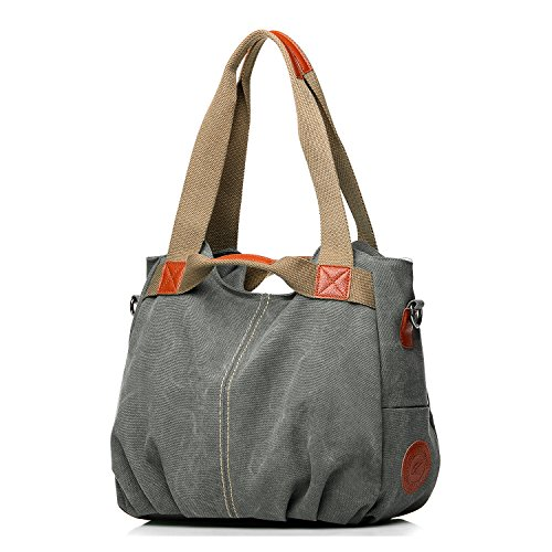 Grey Handbag Handle Daily Shoulder Women's Mulit Casual Shopping Handbags Purse Messenger Tote NOTAG Shoulder Pocket Shopper Bags Bag Top Canvas Hobo Large z1wpOWx