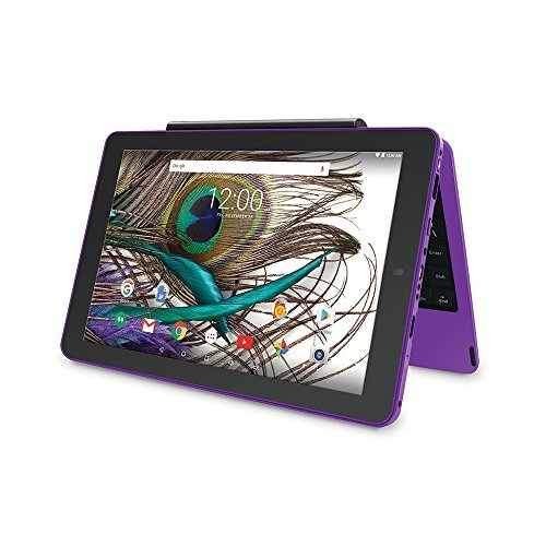 2018 Newest Premium High Performance RCA Viking Pro 10.1'' 2-in-1 Touchscreen Laptop Computer Tablet Quad-Core Processor 1G Memory 32GB Hard Drive Detachable-Keyboard Webcam Android 5.0 Lollipop-Purple