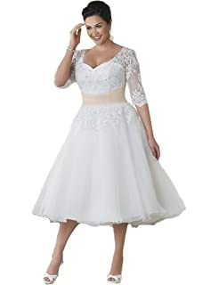 HUINI Sheer Half Sleeves Short Lace Wedding Dresses Plus Size Bridal Gowns