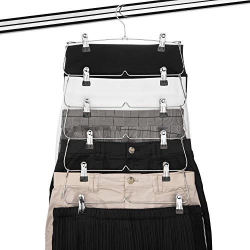 USTECH 6 Tier Skirt Pants Hanger Chrome Metal Organizer (1 Pack)