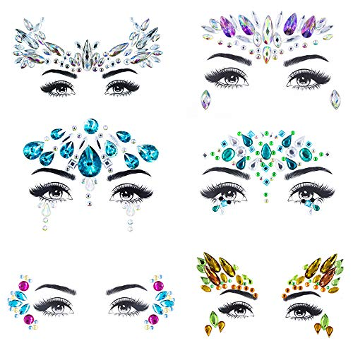 - ZLXIN Face Gems Temporary Tattoo Stickers Acrylic Crystal Glitter Stickers Waterproof Face Jewels Rainbow Tears Rhinestone Eye Decoration for Party, Rave Festival, Dress-up