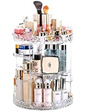JZK Clear acryl Home Beauty-organizer 360° draaibaar cosmeticabox voor dresser, slaapkamer, badkamer voor lippenstift kwast nagellak crèmes