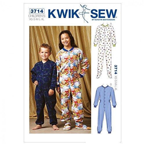 Kwik Sew Childrens Unisex Easy Sewing Pattern 3714 Onesie All in one Pyjamas