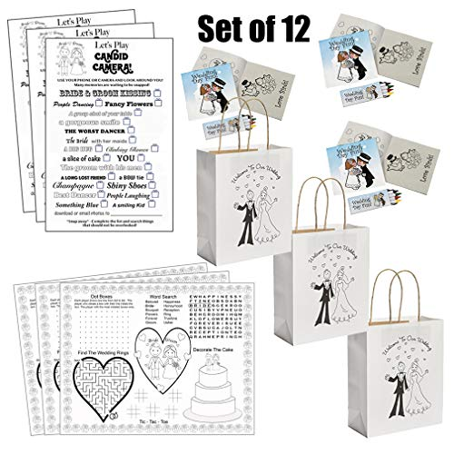 Kids Wedding Activities Set - Kids Wedding Coloring Books with Crayons Individually Packaged (12), Kids Wedding Placemats (12), Kids Wedding Favor Bags (12), Kids Wedding Scavenger Hunt Sheets (12)