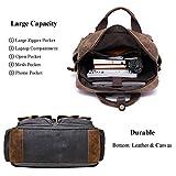 892de5a354d5 ALTOSY Water Resistant Canvas Backpack Crazy Horse Leather Backpack for men  Laptop Bag 5351 (Grey)