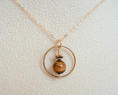 (Brown Round Tiger's Eye Circle Frame Jewelry Pendant Gold Filled Necklace Gift Idea 18 Inch)