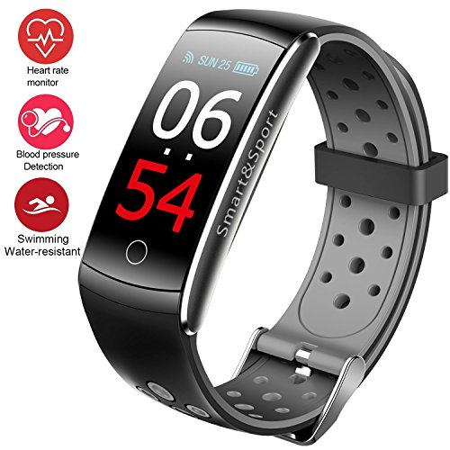 feifuns Fitness Tracker Watch, Upgraded IP68 Swim Water-Resistant HD Color Screen Smart Bracelet, HR/Blood Oxygen/Pressure/Calorie/Sleep Monitor,Pedometer Activity Tracker BLE 4.0 Android/iOS (Grey)