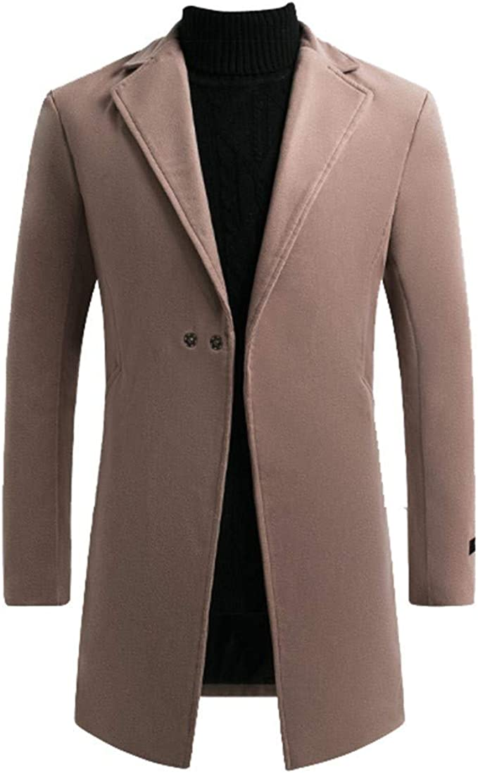 MODOQO Mens Long Trench Coat Double Breasted Slim Fit Winter Warm Jacket Overcoat
