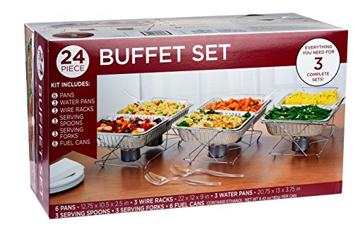 24 Piece Party Serving Kit Includes Chafing Kits and Serving Utensils for All Types of Parties and Events | Disposable Party Set ()