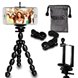 CamRah | Cell Phone Smartphone Tripod and 3 Universal Lens Kit | Includes Fisheye, Wide Angle, and Macro Lenses | 2 Extra Lens Clips | Bonus Octopus Tripod and Photo Tips | Comes with Storage Bag