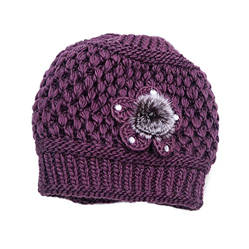 Yezijin Elderly Women Fashion Keep Warm Winter Hats Knitted Hand Hook Hat Soft Stretch Outdoor Hats (Purple)