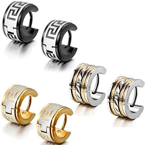 Aroncent 6PCS Fashion Jewelry Stainless Steel Hoop Stud Earrings for Mens